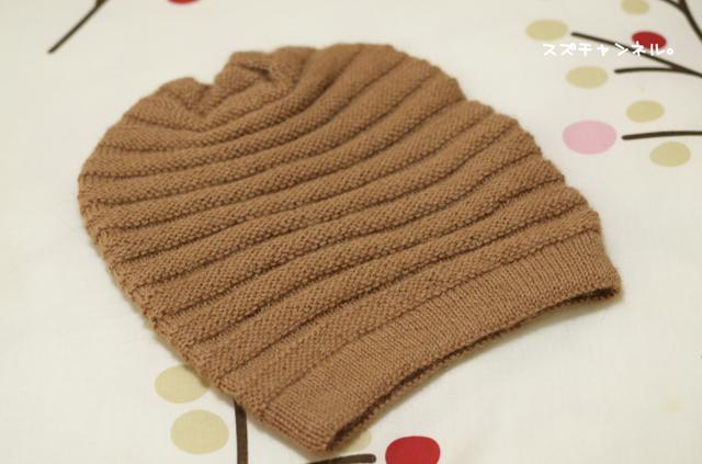 手編みの帽子。