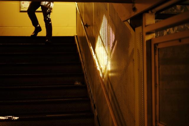 陰るビルの階段