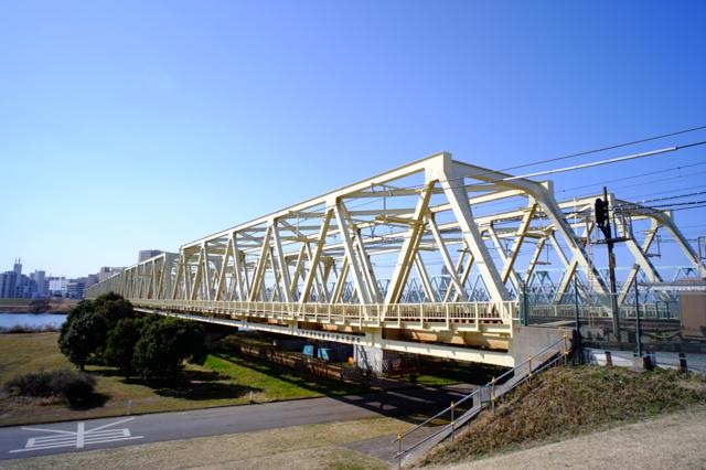 東武伊勢崎線荒川放水路橋梁の画像(写真)