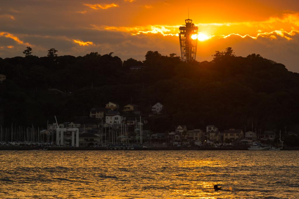 江ノ島シーキャンドル落陽
