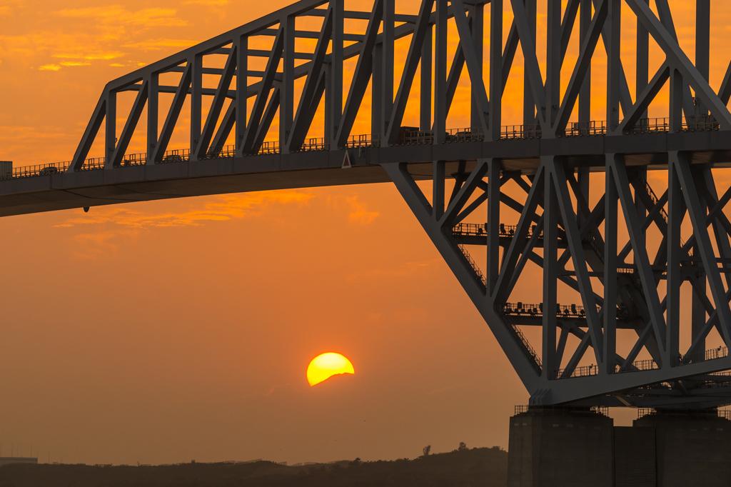ダイヤモンド富士の日、東京ゲートブリッジ