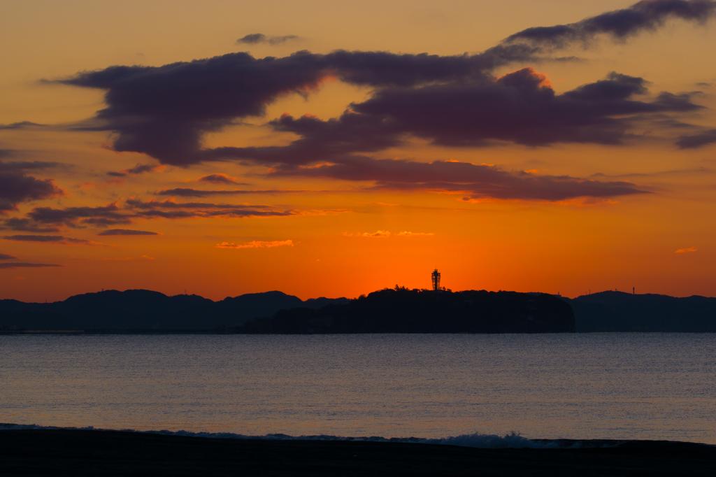江ノ島日の出直前