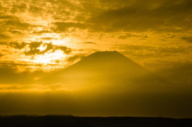 黄金色の富士山
